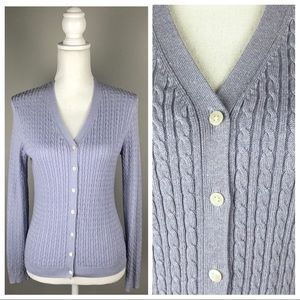 Brooks Brothers 346 Cable Knit Button Cardigan